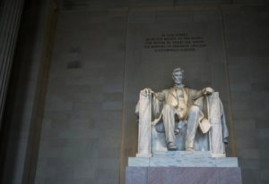 famous seated statue of president in memorial